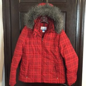 Columbia Red Plaid Down Jacket Size L